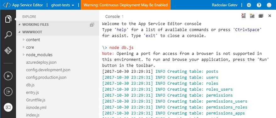 app-service-editor-console