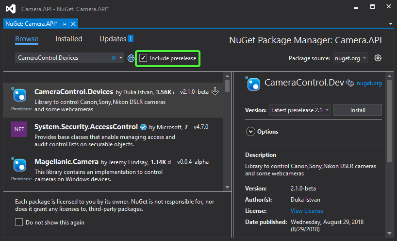 Nuget Package Manager in Visual Studio