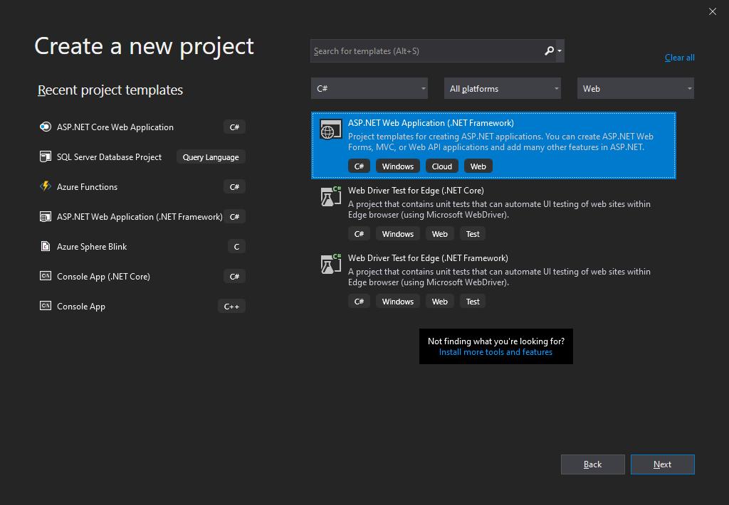 Creating an ASP.NET Web App project (.NET Framework)